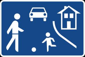 Verkehrszeichen für den Beginn einer Spielstraße