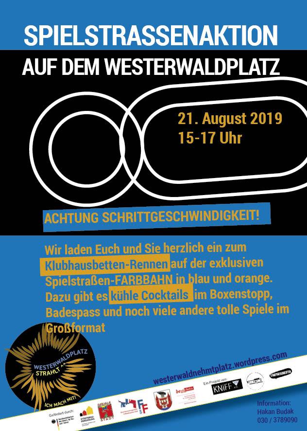 Spielstraßenaktion am Westerwaldplatz - Wettrennen in Schrittgeschwindigkeit