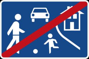Verkehrszeichen für das Ende einer Spielstraße