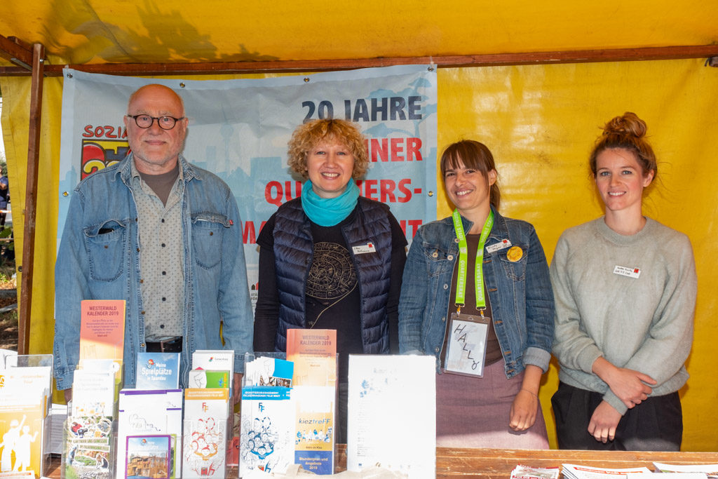 Das QM-Team Falkenhagener Feld Ost v.l.n.r. Karl-Heinz Fricke, Elena Melichowa-Haß, Nicole Heger, Marlene Buritz (Foto: Ralf Salecker)