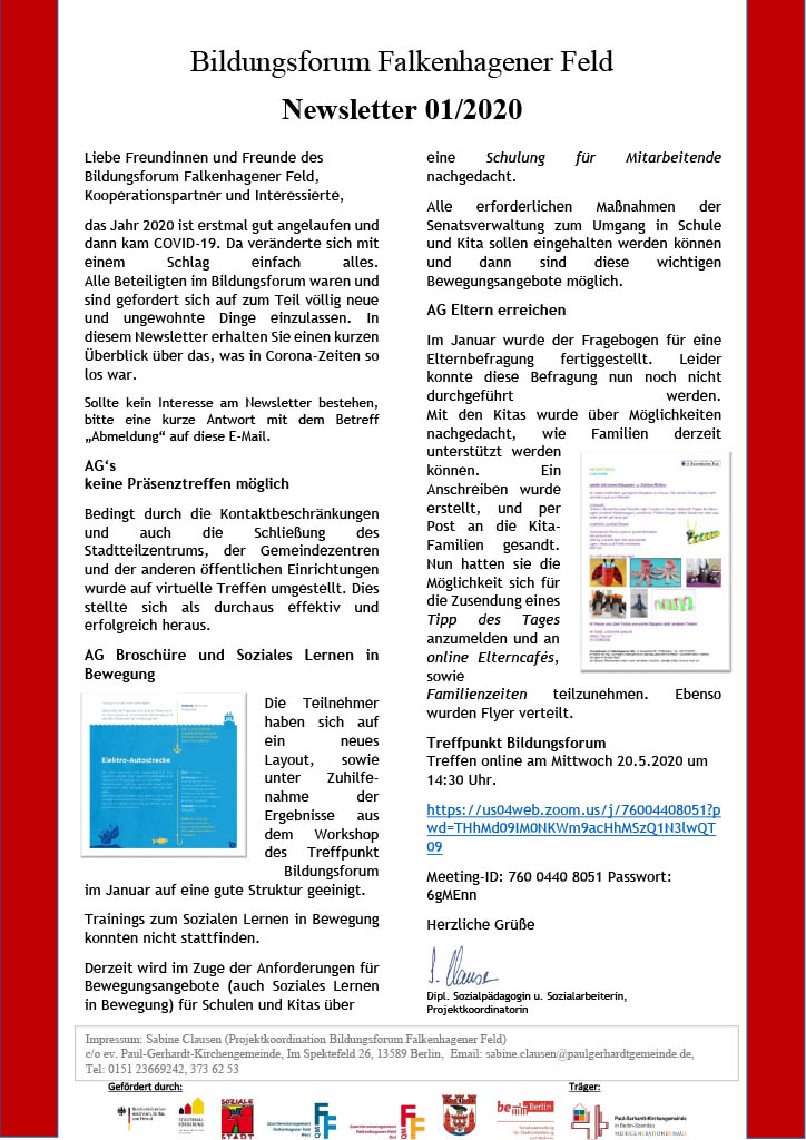 Bildungsforum Falkenhagener Feld: Newsletter 01/2020